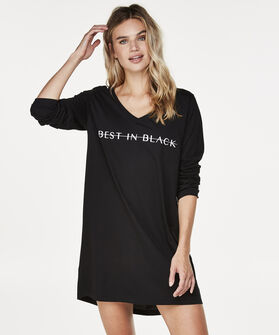 Nachthemd v-hals, Zwart