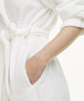 Lange badjas Fleece Jacquard, Wit