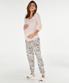 Lange mouwen zwangerschapspyjamashirt rib, Roze