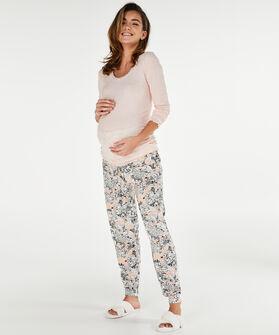 Lange mouwen zwangerschapspyjamashirt, Roze