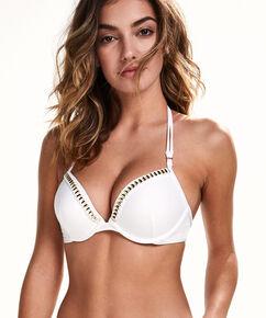 Voorgevormde push-up beugel bikinitop White Lines, Wit