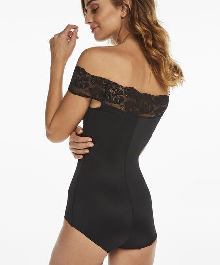 Corrigerende body Bardot, Zwart
