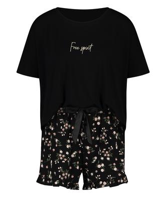Korte pyjama set Ditzy Flower, Zwart