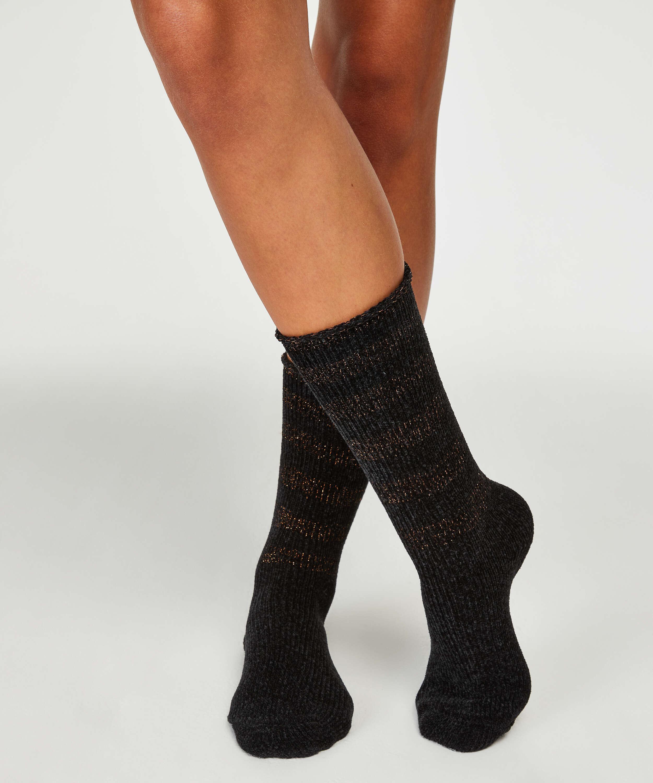 Hoge sokken, Zwart, main