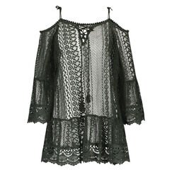 Geometric lace Tunic, Groen