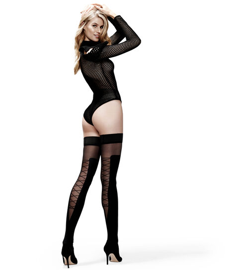 Stay-up 50 Denier Corsetry Overknee, Zwart