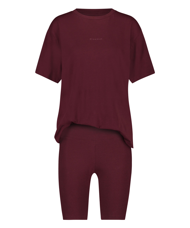 Korte pyjama set Biker, Rood, main