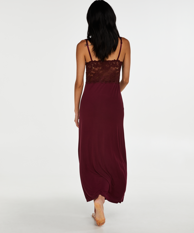 Slipdress Modal lace long, Rood, main