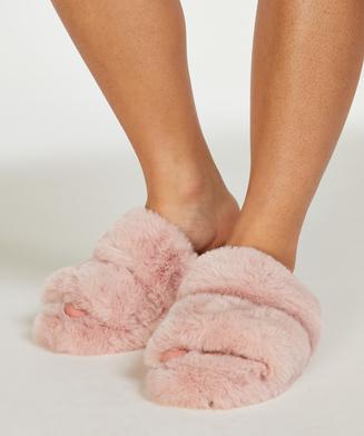 Slippers Fake Fur, Roze