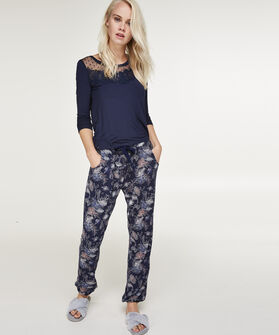 Lange mouwen pyjamatop Dot Mesh, Blauw