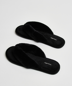 Slippers Velours fur, Zwart