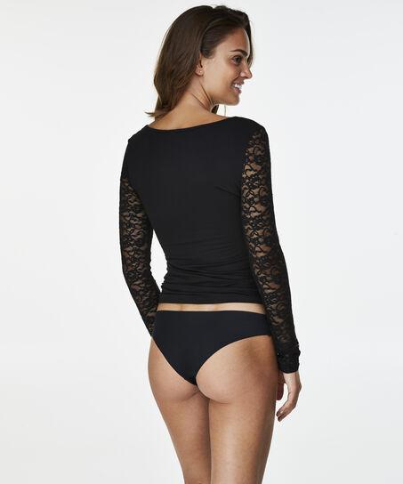 T-shirt lange mouw Kant, Zwart