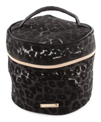 Make up tas mesh leopard groot, Zwart