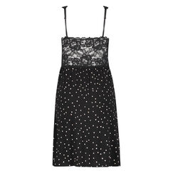 Slipdress Modal lace, Zwart