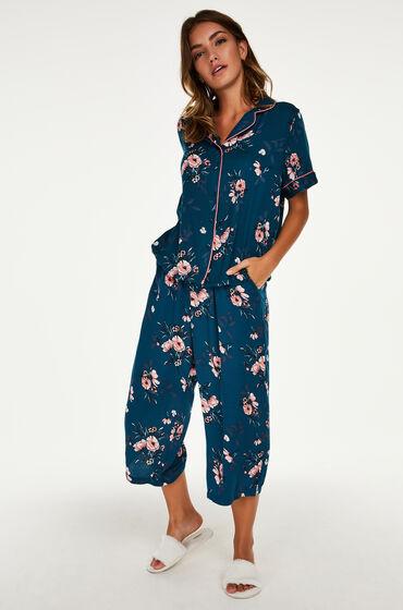 Hunkemöller Pyjama Capri Woven Blauw