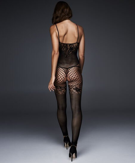 Catsuit Fishnet Lace Mix, Zwart