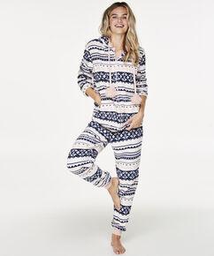 Fleece pyjamabroek, Blauw