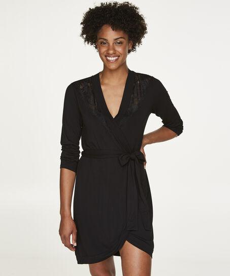 Badjas Modal Lace, Zwart