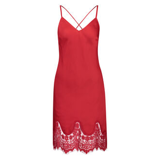 Slipdress Satin Lace, Rood