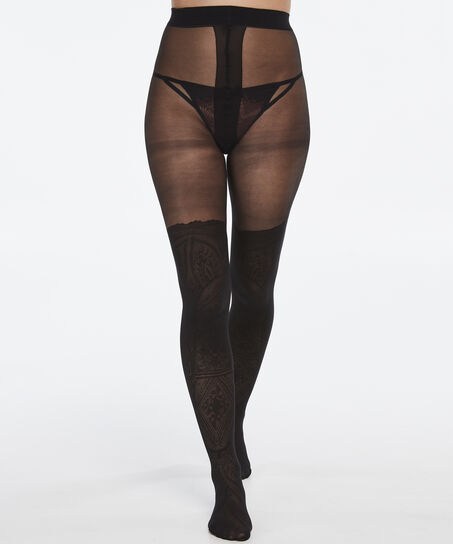 Panty 20 Denier Tribal, Zwart