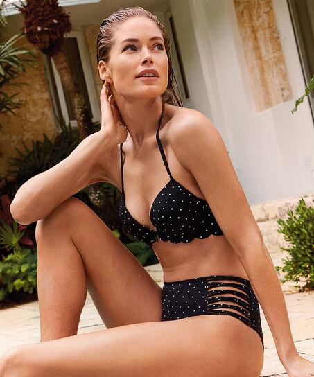 Hoog cheeky bikinibroekje Scallop Goddess Doutzen, Zwart