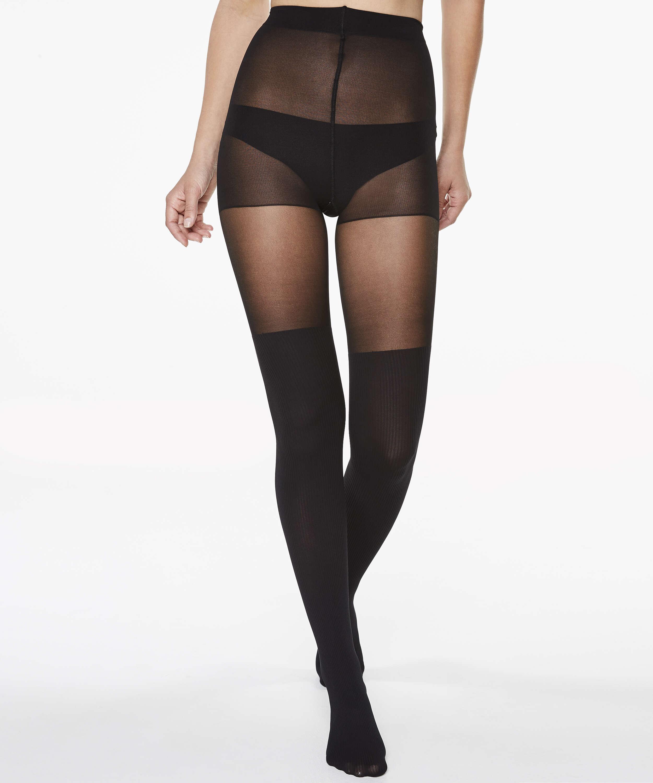 Panty 50 Denier Overknee sock, Zwart, main