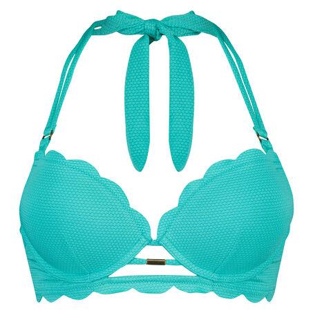 Voorgevormde push-up beugel bikinitop Scallop dreams, Blauw