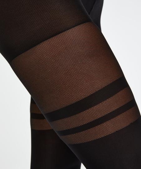 Panty Fishnet Overknee, Zwart