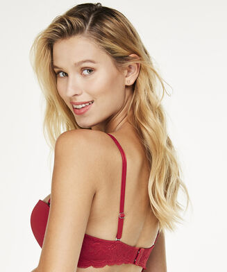 Voorgevormde strapless push-up beugel bh Angie, Rood