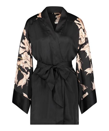 Kimono Satijn Bloom, Zwart