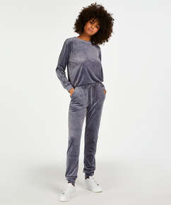 Petite pyjamabroek Velours Shimmer Tape, Grijs