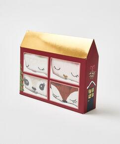 Giftbox 4 paar sokken, Wit