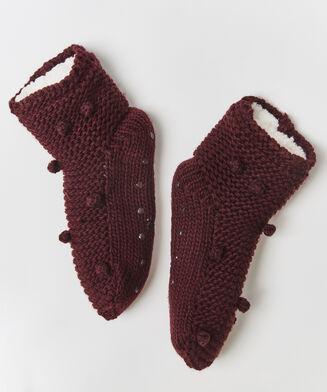 Slof sokken pom pom, Rood
