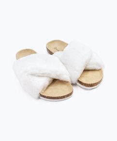 Huisslipper Fur Cross, Wit