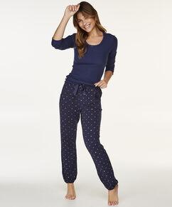 Pyjama top lange mouwen rib, Blauw