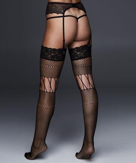 Stocking Fishnet Open Thigh, Zwart
