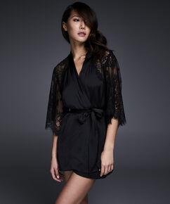 Kimono Flared Satin Lace, Zwart