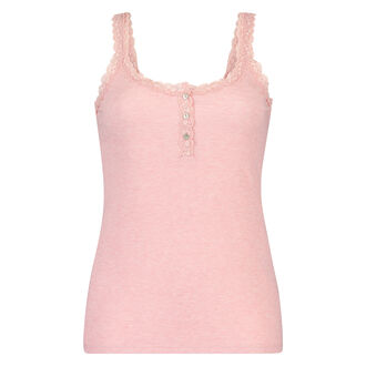Singlet top cami rib lace, Roze
