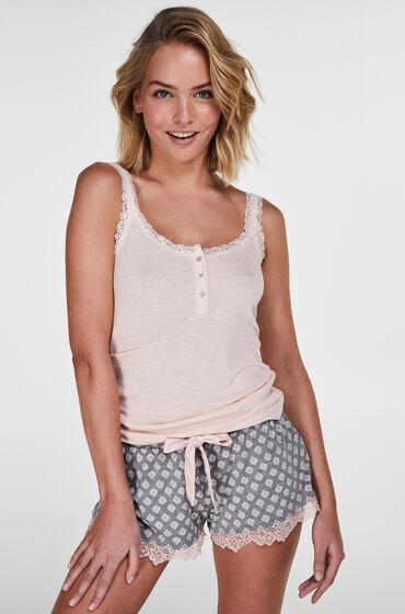 Hunkemöller Pyjama short Jersey lace Grijs