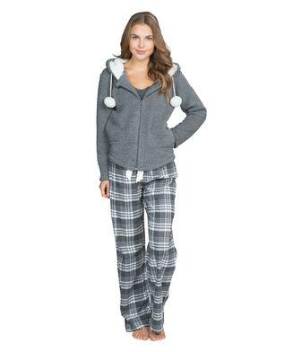 Pyjama pants Krista check, Grijs