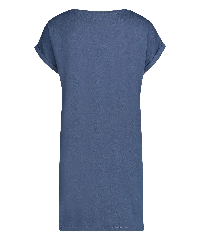 Nachthemd Ronde hals, Blauw, main