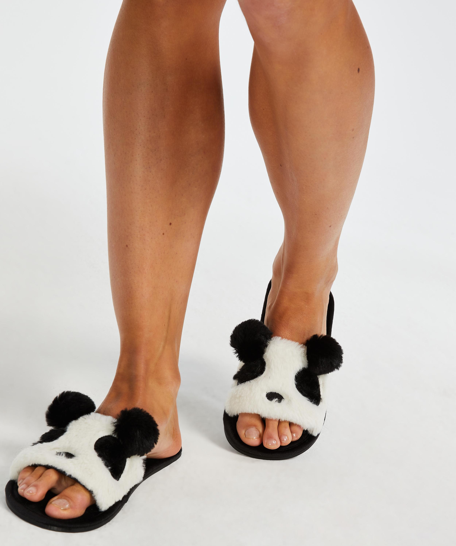 Slippers Panda, Zwart, main