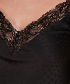 Cami top Satin Lace, Zwart