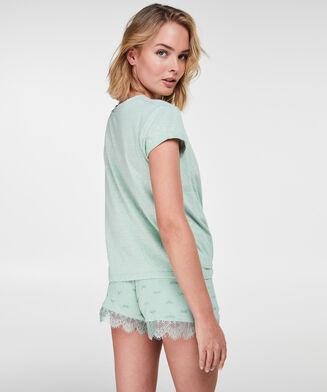 Pyjama top korte mouwen jersey, Blauw