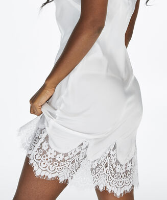Slipdress Satin Lace, Wit