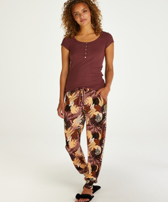 Tall pyjama broek Jersey Absract Leaf, Roze