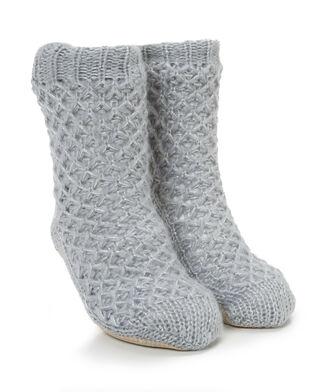 Slof sokken Lurex, Grijs