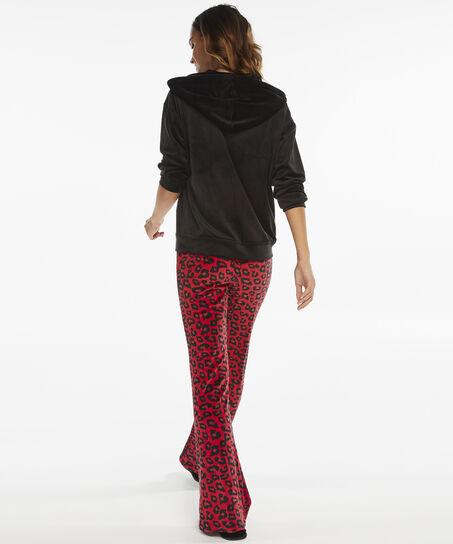 Lange mouwen pyjamatop velours, Zwart