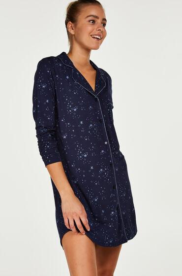 Hunkemöller Nachthemd Menshirt Jersey Blauw