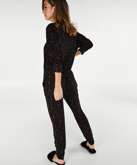 Kort pyjama jasje Woven, Zwart